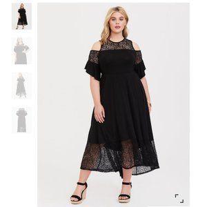 Torrid Size 0X Lace Skater Midi Dress Jersey